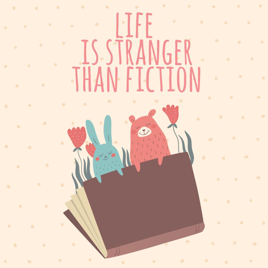 Fiction Book with Animals Illustration — Crear un diseño