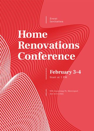 Home Renovation Conference ad on red pattern Invitationデザインテンプレート