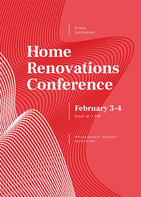 Home Renovation Conference ad on red pattern Invitation Tasarım Şablonu
