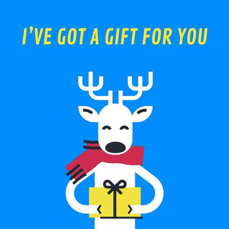 Plantilla de diseño de Christmas Deer With Gift in Hands Animated Post