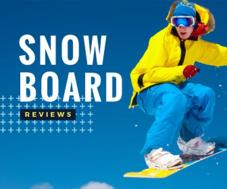 Plantilla de diseño de extreme sport poster with snowboarder Large Rectangle
