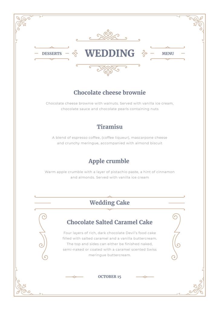 Wedding Desserts list — Créer un visuel