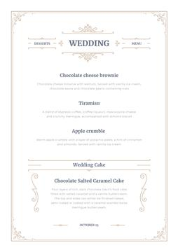 Wedding Desserts list