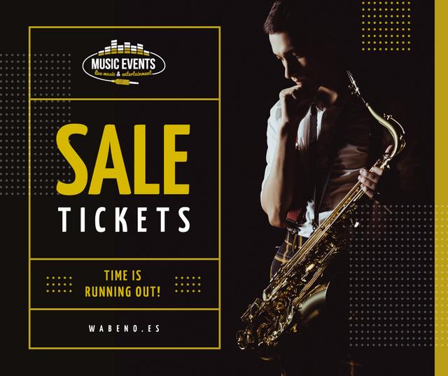 Ontwerpsjabloon van Facebook van Saxophone Concert invitation Musician in spotlight