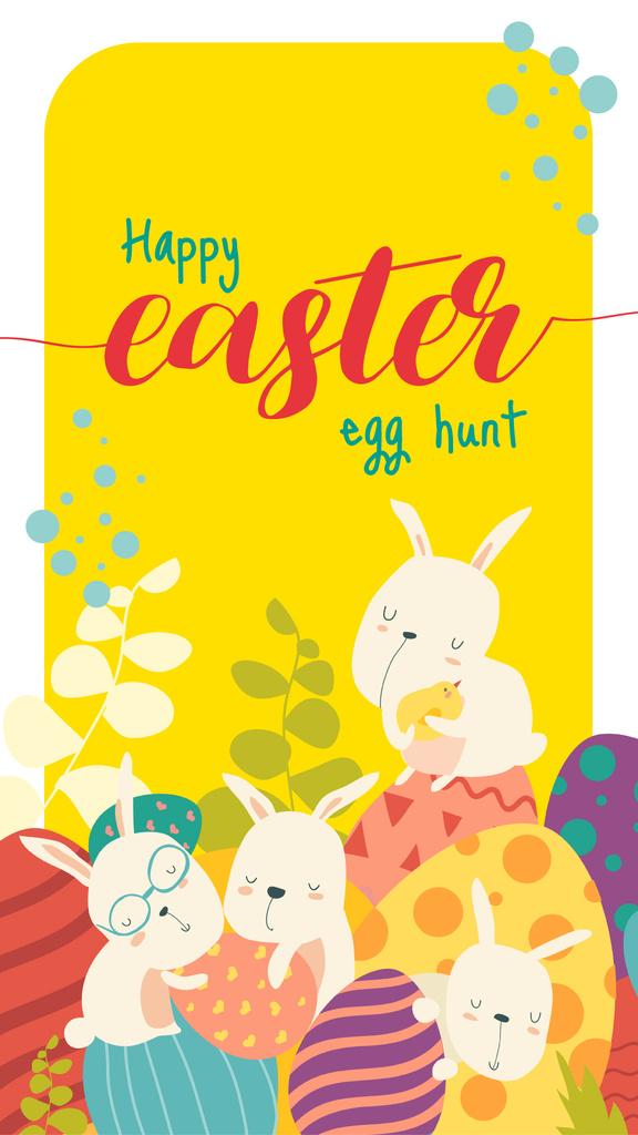 Modèle de visuel Cute Easter bunnies - Instagram Story