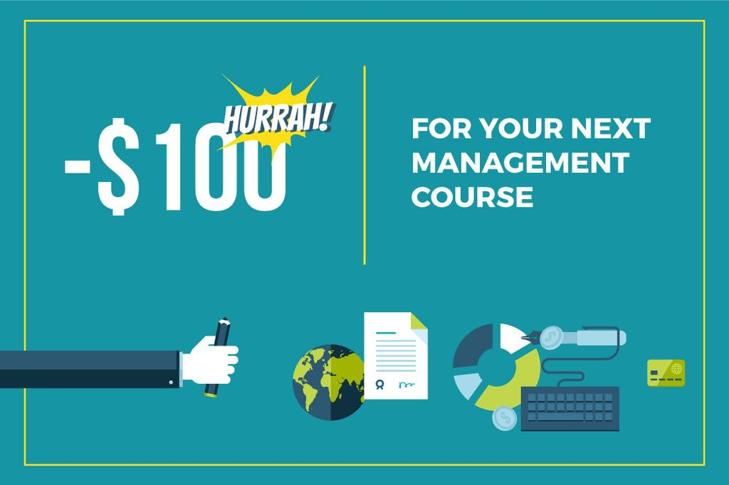 discount coupon for next management course — Создать дизайн