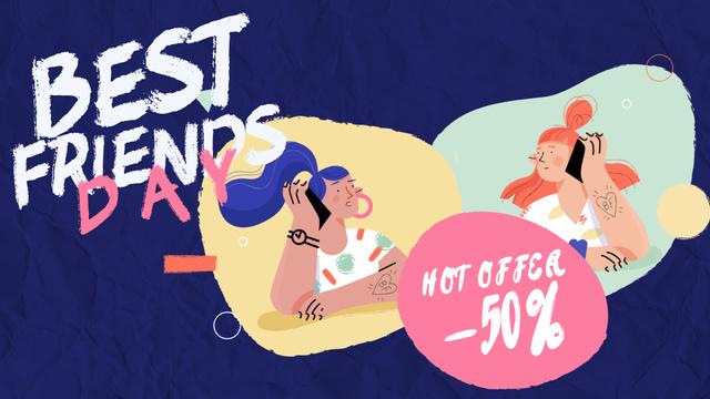 Best Friends Day Offer Girls Talking on Phone Full HD video Modelo de Design