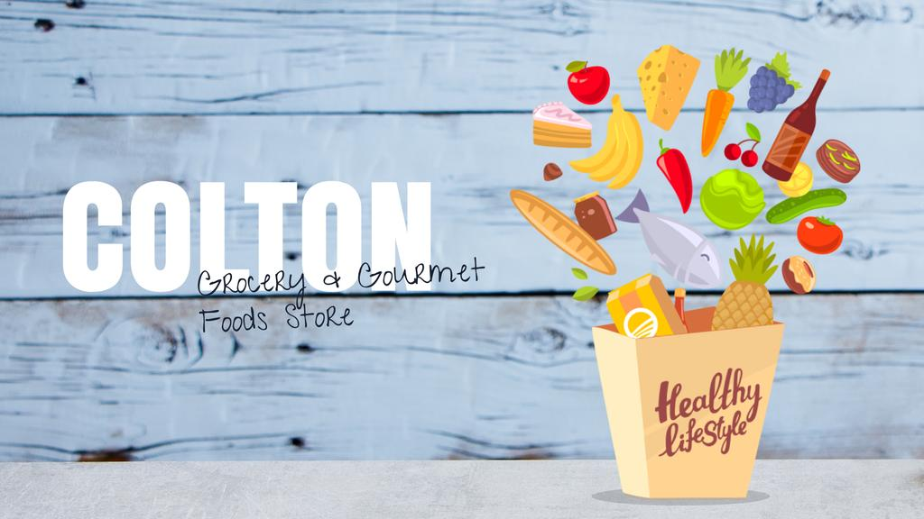 Healthy lifestyle concept with groceries in shopping bag — Modelo de projeto