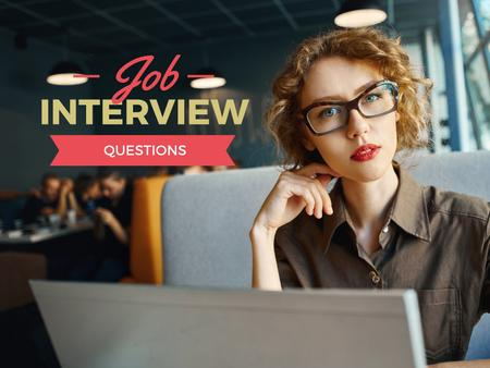 Designvorlage Job interview questions with Confident Businesswoman für Presentation