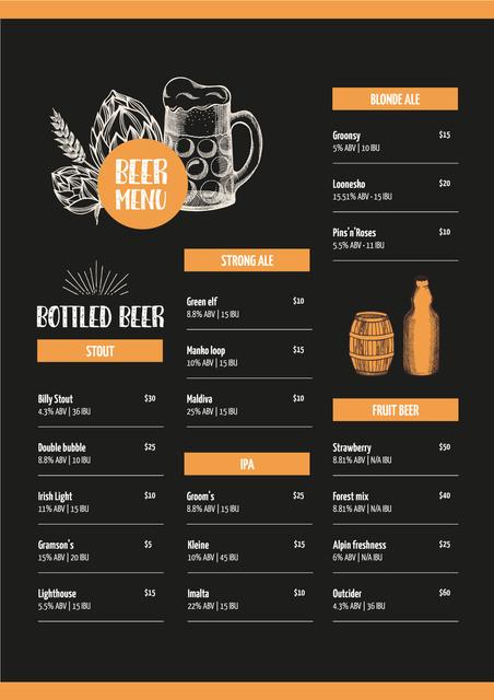 Template di design Beer variety offer Menu