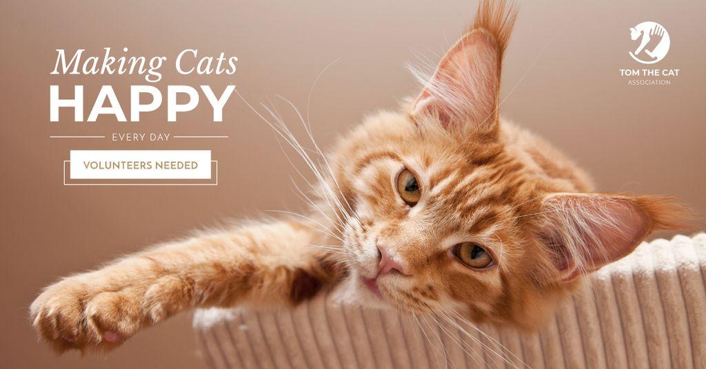 Volunteers for cats Ad with Cute Cat - Bir Tasarım Oluşturun