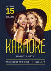 Karaoke Club Invitation Girls Singing with Mic