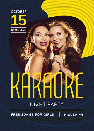 Designvorlage Karaoke Club Invitation Girls Singing with Mic für Flayer