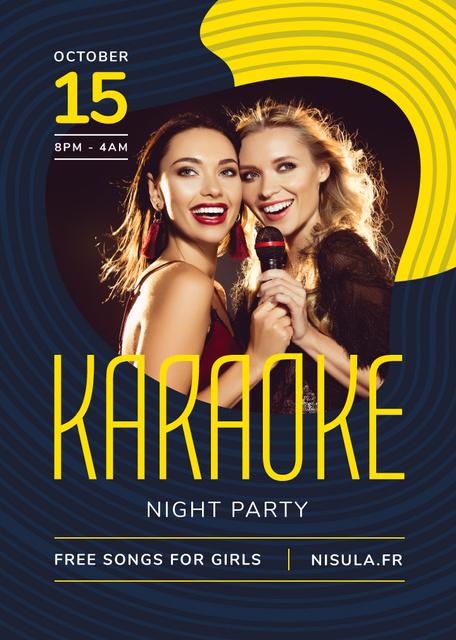 Ontwerpsjabloon van Flayer van Karaoke Club Invitation Girls Singing with Mic