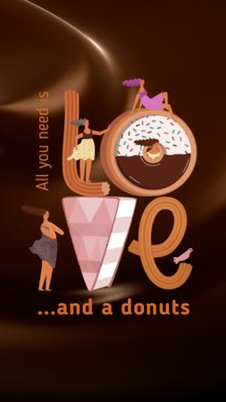 Girls in love with sweet Donuts Instagram Video Story Design Template