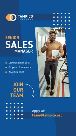 Template di design Sales Manager Vacancy Smiling Man in Office Instagram Story