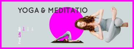 Plantilla de diseño de Woman Meditating at Yoga Facebook cover
