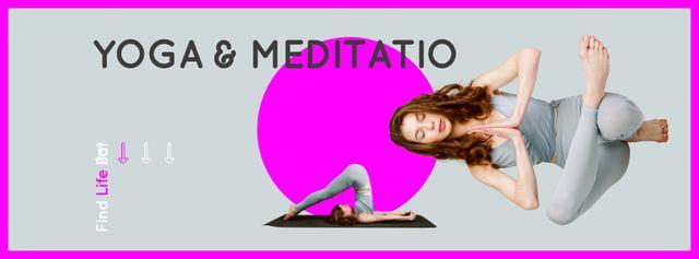 Designvorlage Woman Meditating at Yoga für Facebook cover