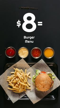 Fast Food Menu offer Burger and French Fries Instagram Story Modelo de Design