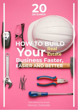 Building Business Construction Tools on Pink Invitation – шаблон для дизайна