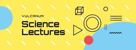 Modèle de visuel Scientific Event Announcement Geometric Pattern in Yellow - Facebook cover