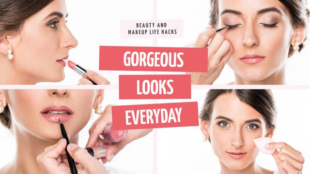 Beauty Courses Beautician Applying Makeup Youtube Thumbnail – шаблон для дизайна