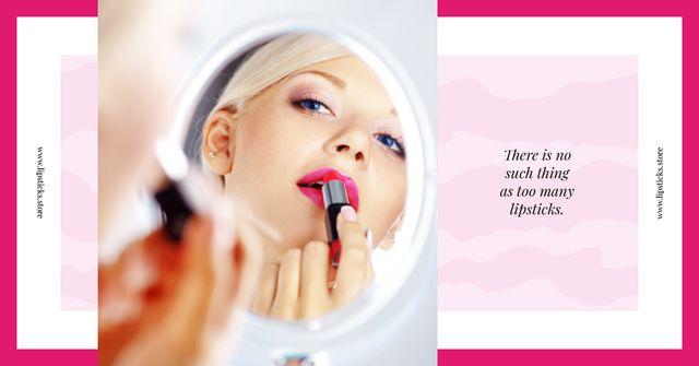Plantilla de diseño de Beauty Quote Woman Applying Lipstick Facebook AD