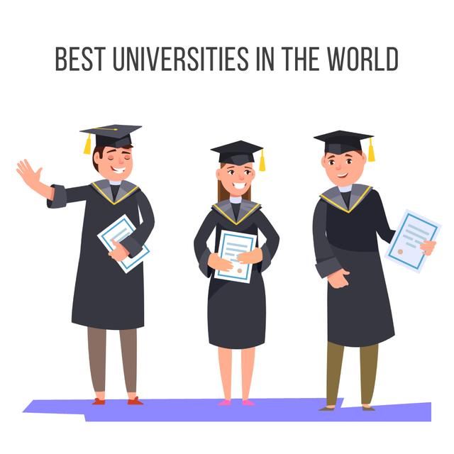 Happy graduates with diplomas Animated Post Modelo de Design