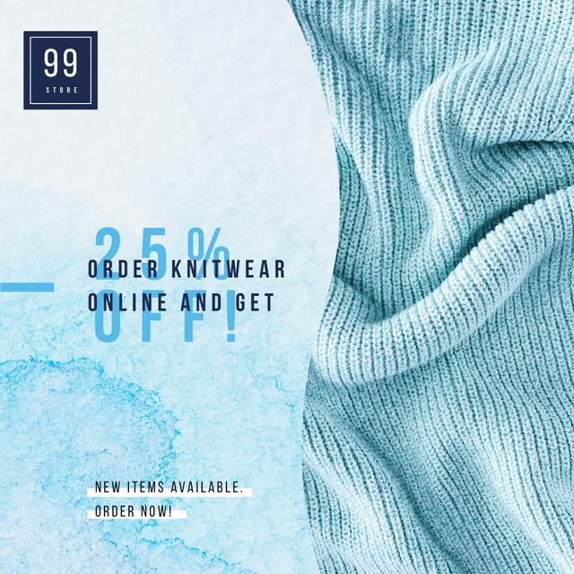 Plantilla de diseño de Knitted blue blanket for sale Instagram AD