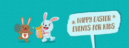 Cartoon Easter bunnies with colored eggs Facebook Video coverデザインテンプレート