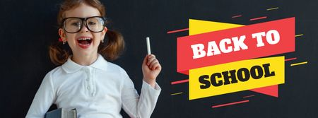 Plantilla de diseño de Back to School Sale with Happy Girl Student Facebook cover
