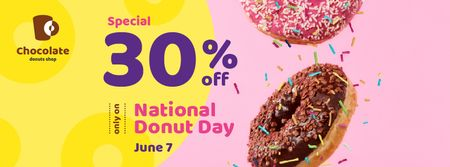 Delicious glazed donuts on Donut Day Facebook cover Design Template