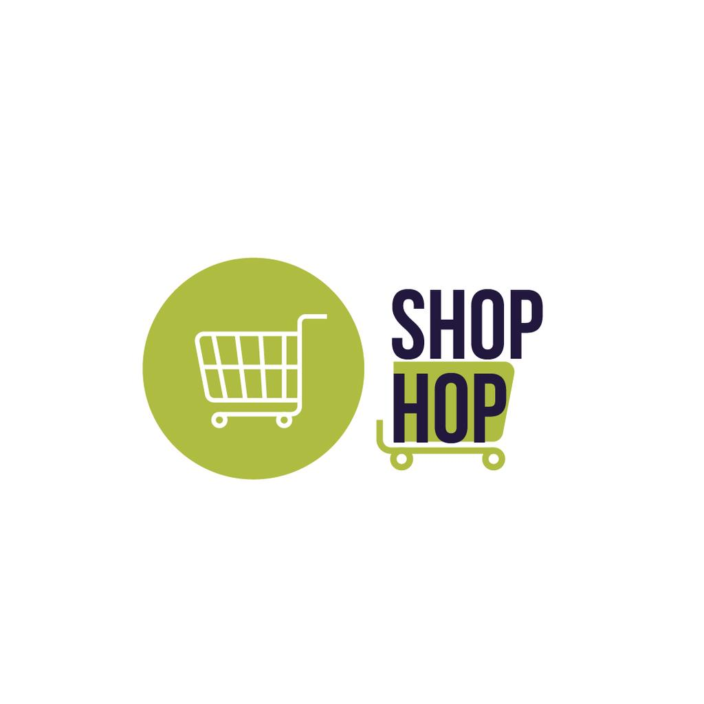 Shop Ad with Shopping Cart in Green — Créer un visuel