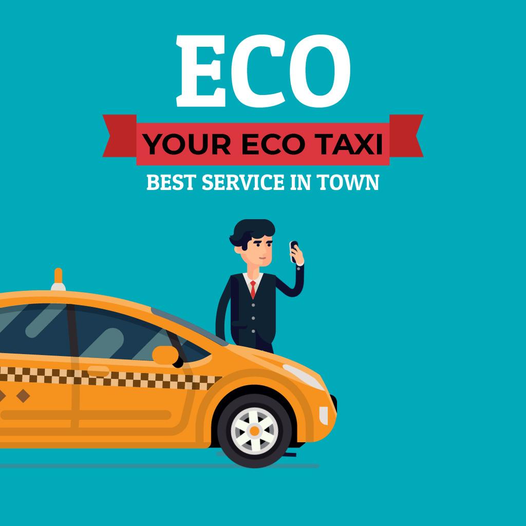 Eco Taxi Service Ad with Man Calling Taxi — Создать дизайн