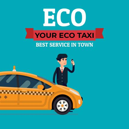 Eco Taxi Service Ad with Man Calling Taxi Animated Postデザインテンプレート