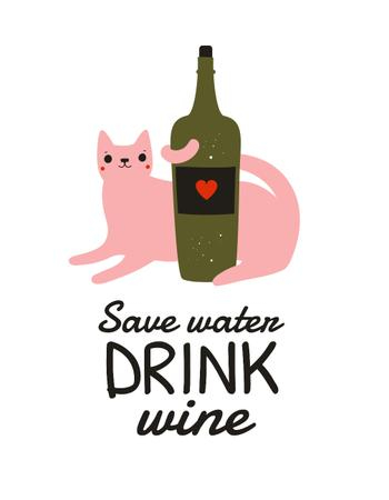 Cute Cat with Bottle of Wine T-Shirt Modelo de Design