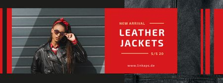 Fashion Ad with Woman in Leather Jacket Facebook cover – шаблон для дизайну