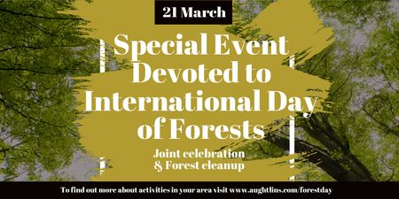 International Day of Forests Event with Tall Trees Twitter Tasarım Şablonu