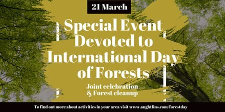 International Day of Forests Event with Tall Trees Twitterデザインテンプレート
