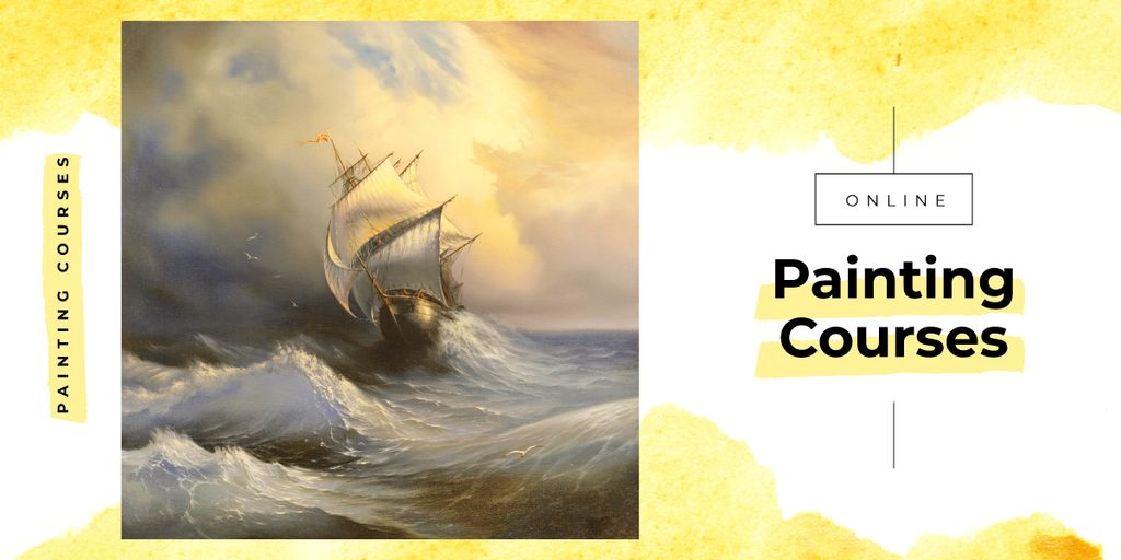 Painting with ship in sea waves — Modelo de projeto