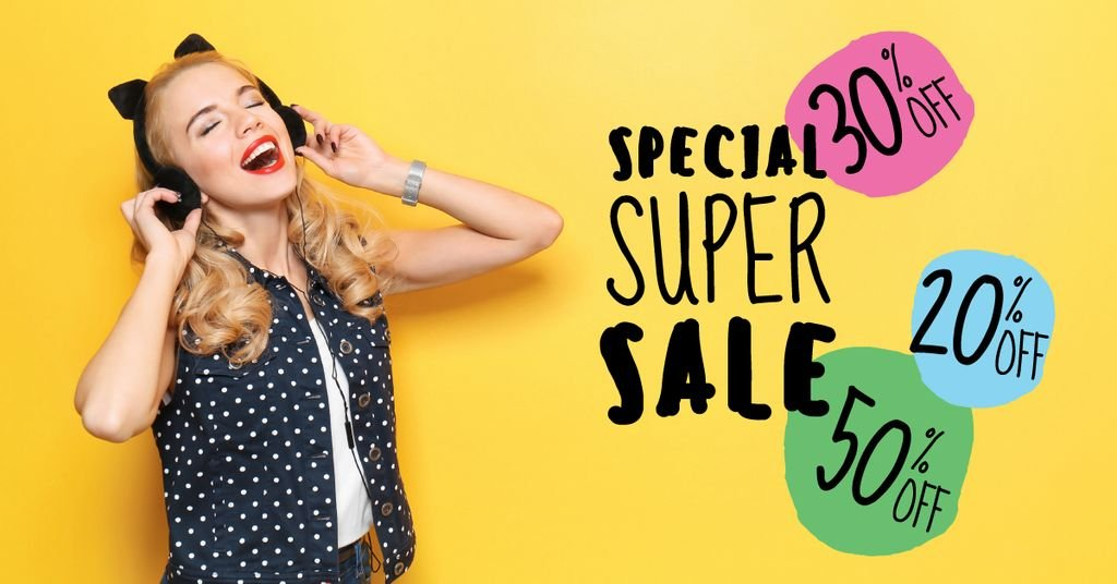 Special super sale with young woman in headphones — Создать дизайн