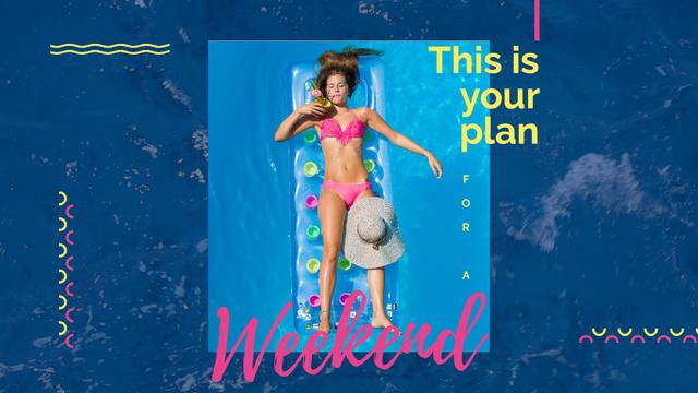 Ontwerpsjabloon van Full HD video van Woman with cocktail resting in pool