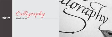Calligraphy Workshop Announcement Artist Working with Quill | Twitter Header Template