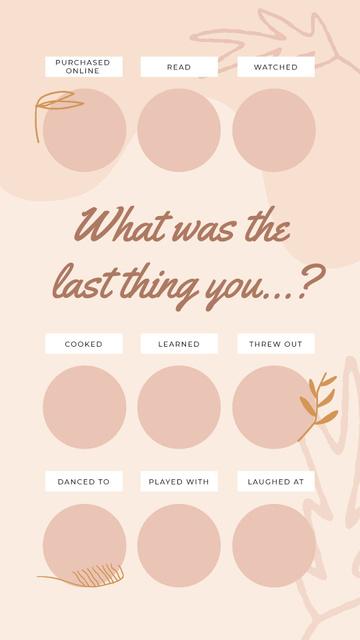 Ontwerpsjabloon van Instagram Video Story van Checkbox with last thing in pink