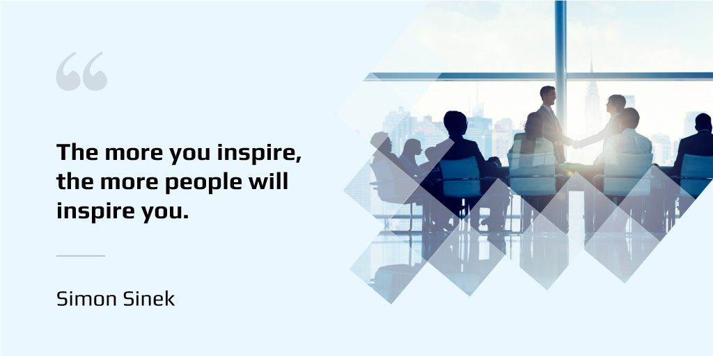 Group of business people in office with inspirational quote  — ein Design erstellen