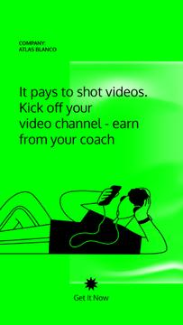 Video Blog Platform promotion with Man in Headphones