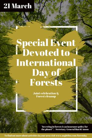 Plantilla de diseño de International Day of Forests Event with Tall Trees Pinterest