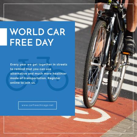 Man riding bicycle on World Car Free Day Instagram ADデザインテンプレート