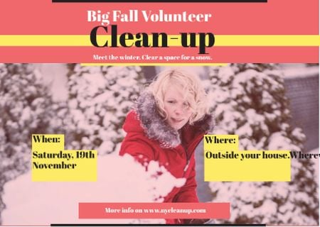 Ontwerpsjabloon van Postcard van Woman at Winter Volunteer clean up