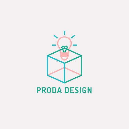 Design Studio Ad with Bulb in Box Logo – шаблон для дизайну